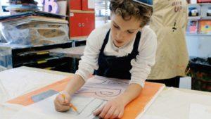 Student in art class at Manhattan Day School