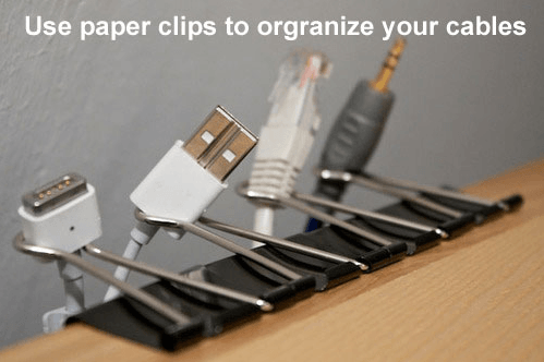 Use paper clips to separate your power cords.