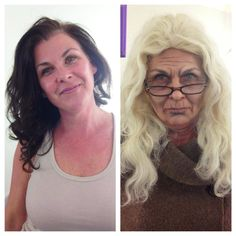 woman putting on old woman makeup